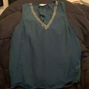 Sleeveless Blouse with Bead Detail